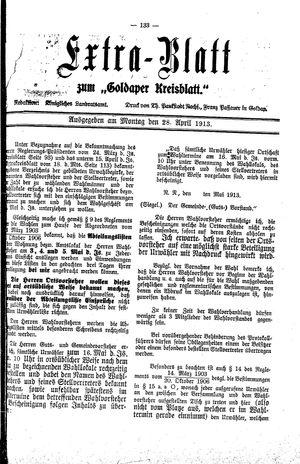 Goldaper Kreisblatt vom 28.04.1913