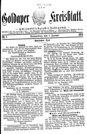 Goldaper Kreisblatt vom 01.01.1914