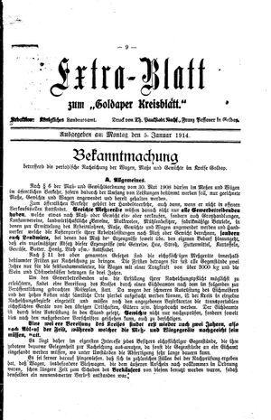 Goldaper Kreisblatt vom 05.01.1914