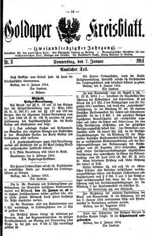 Goldaper Kreisblatt vom 07.01.1914