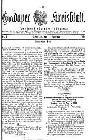 Goldaper Kreisblatt vom 11.01.1914