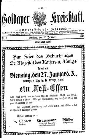 Goldaper Kreisblatt vom 16.01.1914