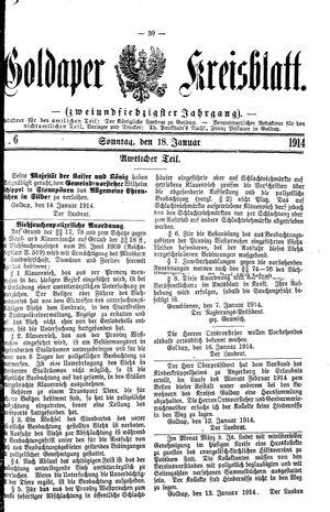 Goldaper Kreisblatt vom 18.01.1914