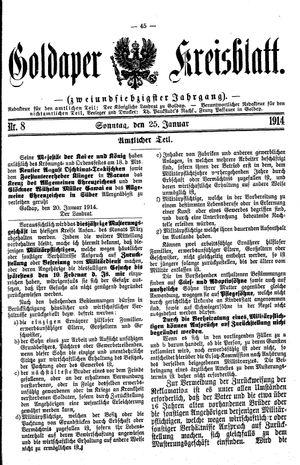 Goldaper Kreisblatt vom 25.01.1914