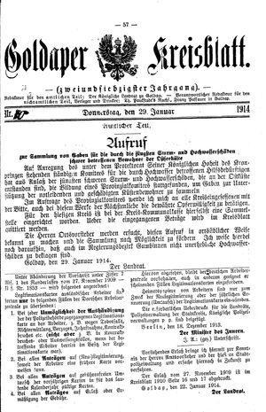 Goldaper Kreisblatt vom 01.02.1914