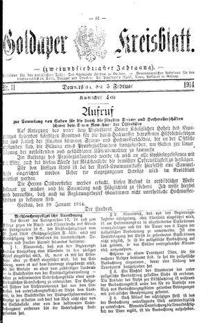 Goldaper Kreisblatt vom 05.02.1914