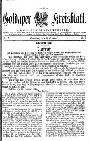 Goldaper Kreisblatt vom 08.02.1914