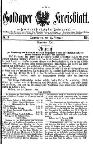 Goldaper Kreisblatt vom 12.02.1914