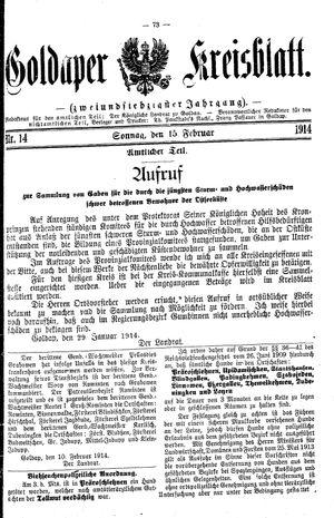Goldaper Kreisblatt vom 15.02.1914