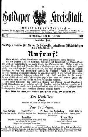Goldaper Kreisblatt vom 19.02.1914