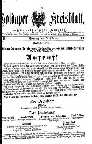 Goldaper Kreisblatt vom 22.02.1914