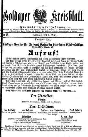 Goldaper Kreisblatt vom 01.03.1914