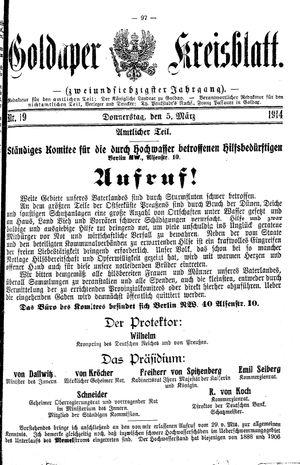 Goldaper Kreisblatt vom 05.03.1914