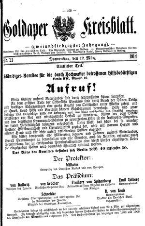 Goldaper Kreisblatt vom 12.03.1914