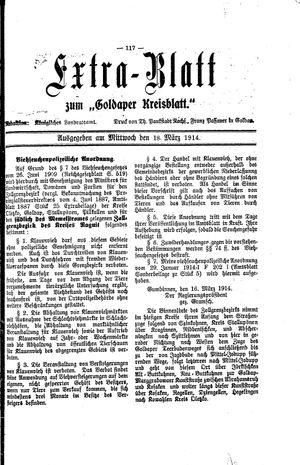 Goldaper Kreisblatt vom 18.03.1914