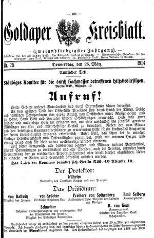 Goldaper Kreisblatt vom 26.03.1914