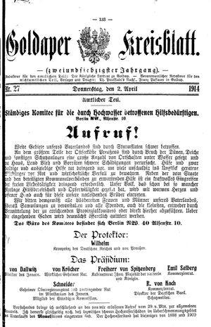 Goldaper Kreisblatt vom 02.04.1914