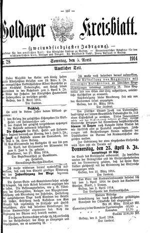 Goldaper Kreisblatt vom 05.04.1914