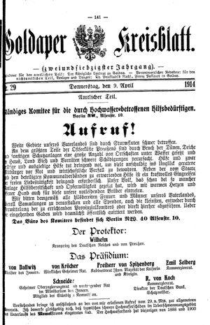 Goldaper Kreisblatt on Apr 9, 1914