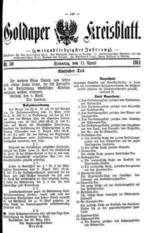 Goldaper Kreisblatt vom 12.04.1914