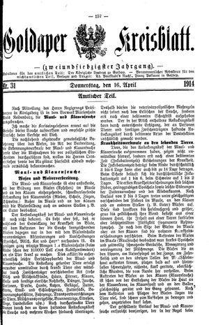 Goldaper Kreisblatt vom 16.04.1914