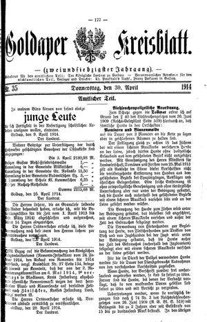 Goldaper Kreisblatt on Apr 30, 1914