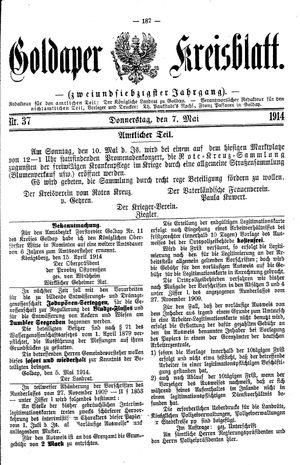 Goldaper Kreisblatt vom 07.05.1914