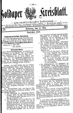 Goldaper Kreisblatt vom 10.05.1914
