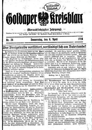 Goldaper Kreisblatt vom 06.04.1916