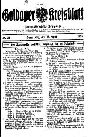 Goldaper Kreisblatt vom 13.04.1916