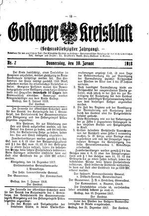 Goldaper Kreisblatt vom 10.01.1918
