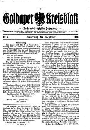 Goldaper Kreisblatt vom 17.01.1918