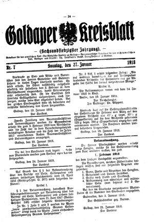 Goldaper Kreisblatt vom 27.01.1918