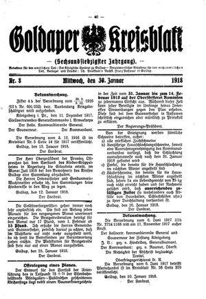 Goldaper Kreisblatt vom 30.01.1918