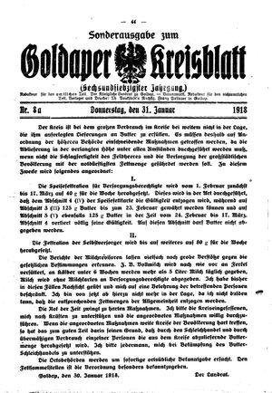 Goldaper Kreisblatt vom 31.01.1918