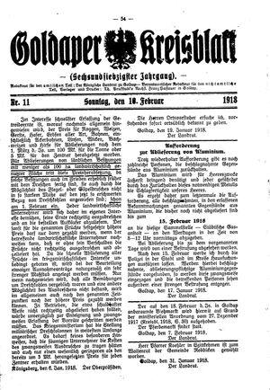 Goldaper Kreisblatt vom 10.02.1918