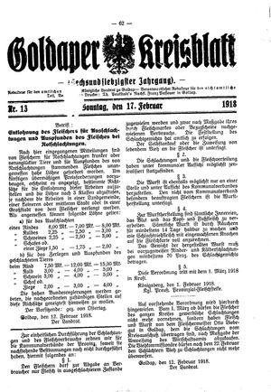 Goldaper Kreisblatt vom 17.02.1918
