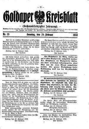 Goldaper Kreisblatt vom 24.02.1918