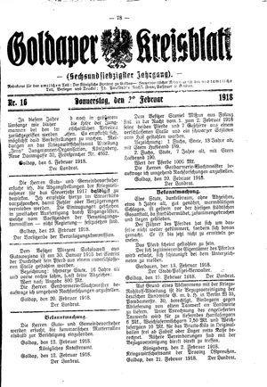 Goldaper Kreisblatt vom 28.02.1918
