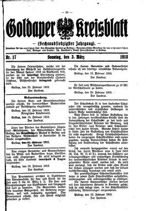 Goldaper Kreisblatt vom 03.03.1918