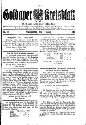 Goldaper Kreisblatt vom 07.03.1918
