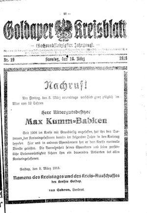 Goldaper Kreisblatt vom 10.03.1918