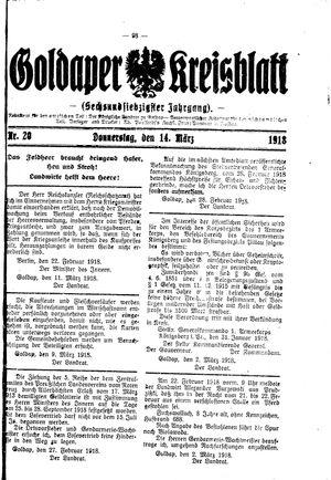 Goldaper Kreisblatt vom 14.03.1918