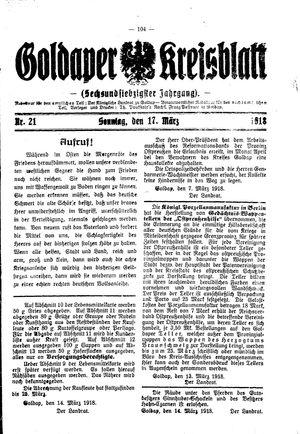 Goldaper Kreisblatt vom 17.03.1918