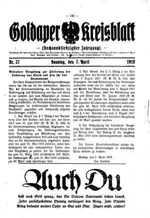 Goldaper Kreisblatt vom 07.04.1918