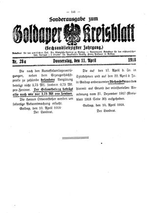 Goldaper Kreisblatt vom 11.04.1918