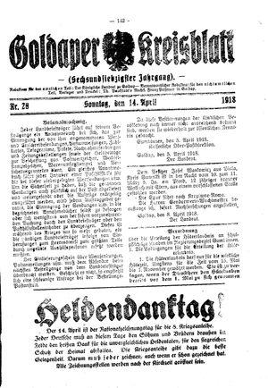 Goldaper Kreisblatt vom 14.04.1918