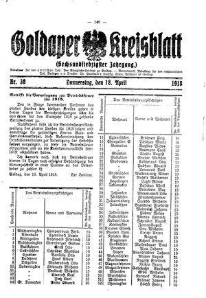 Goldaper Kreisblatt on Apr 18, 1918