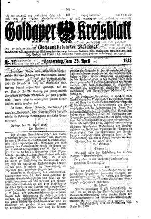 Goldaper Kreisblatt vom 25.04.1918