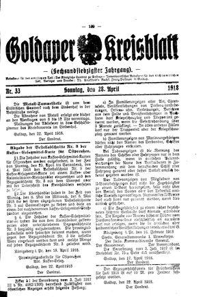 Goldaper Kreisblatt vom 28.04.1918